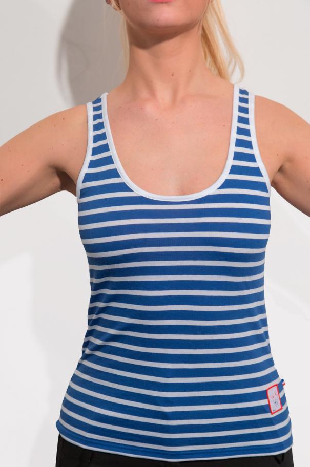 Marcel Femme/ Bleu marine clair et Blanc rayures épaisses