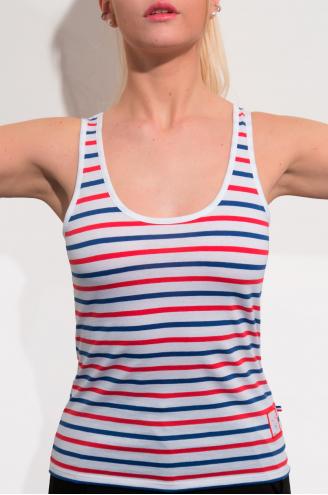 Marcel Femme/ Bleu Blanc Rouge rayures épaisses