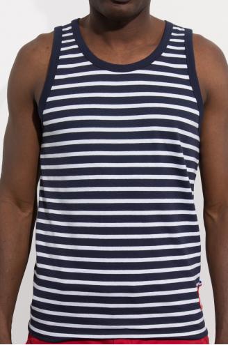 Marcel Homme/ Bleu marine et Blanc rayures épaisses