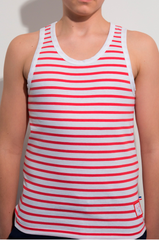 Marcel Homme/ Rouge et Blanc rayures épaisses